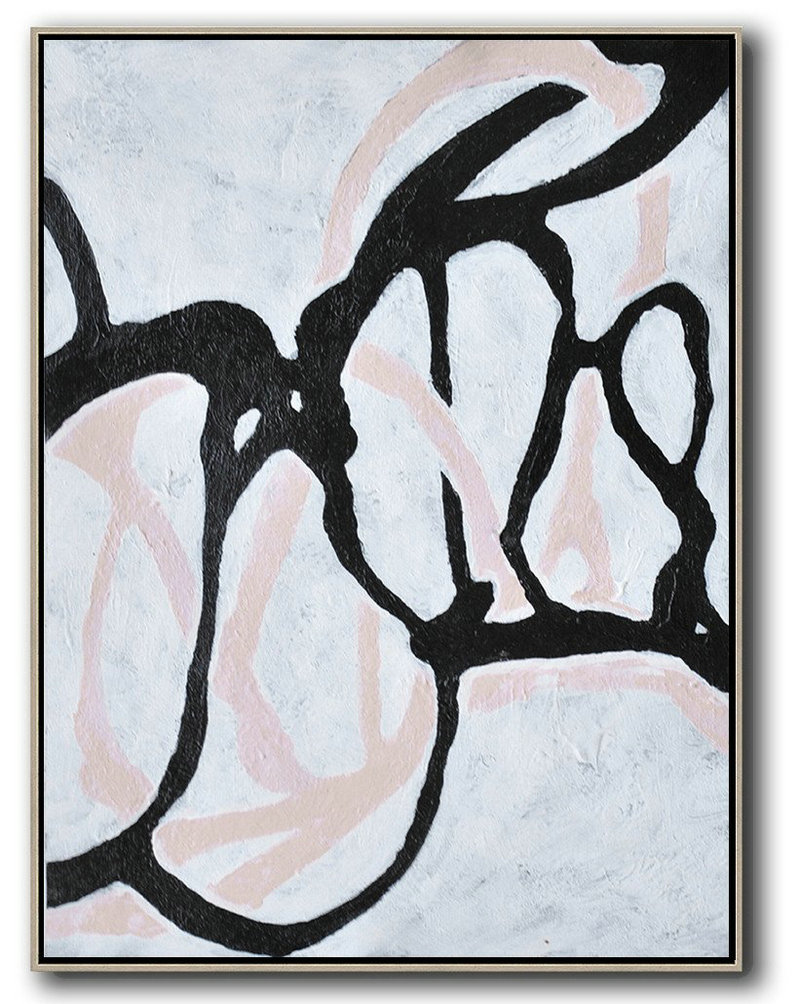 Abstract P,Handmade Large Painting,Hand-Painted Black And White Minimal Painting On Canvas,Hand Painted Original Art