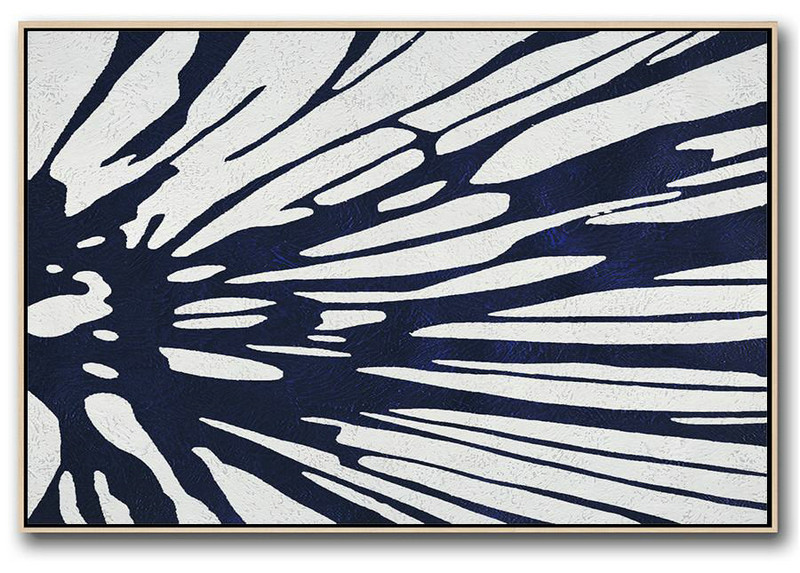 Abstract History,Abstract Painting Extra Large Canvas Art,Horizontal Abstract Painting Navy Blue Minimalist Painting On Canvas,Hand Paint Large Art