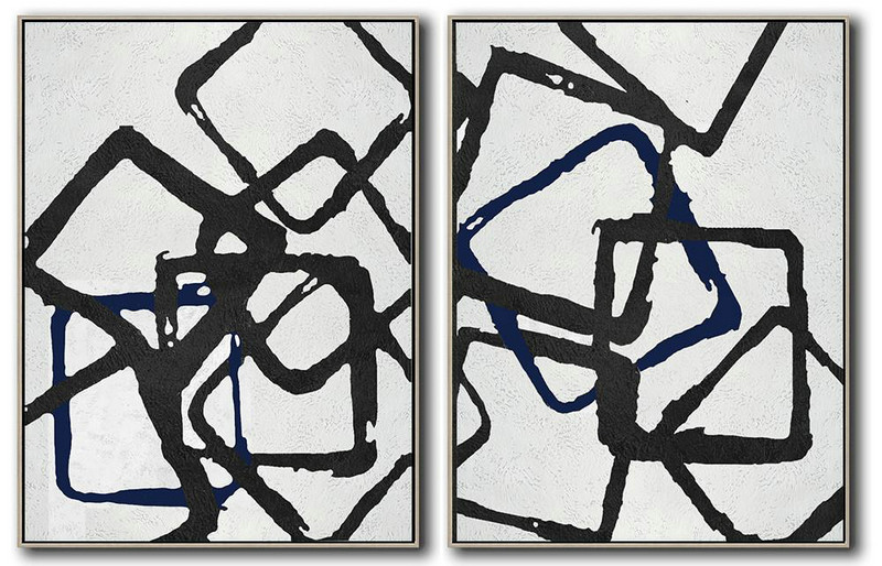 Art Dealer,Original Painting Hand Made Large Abstract Art,Set Of 2 Minimal Painting On Canvas - Modern Canvas Art