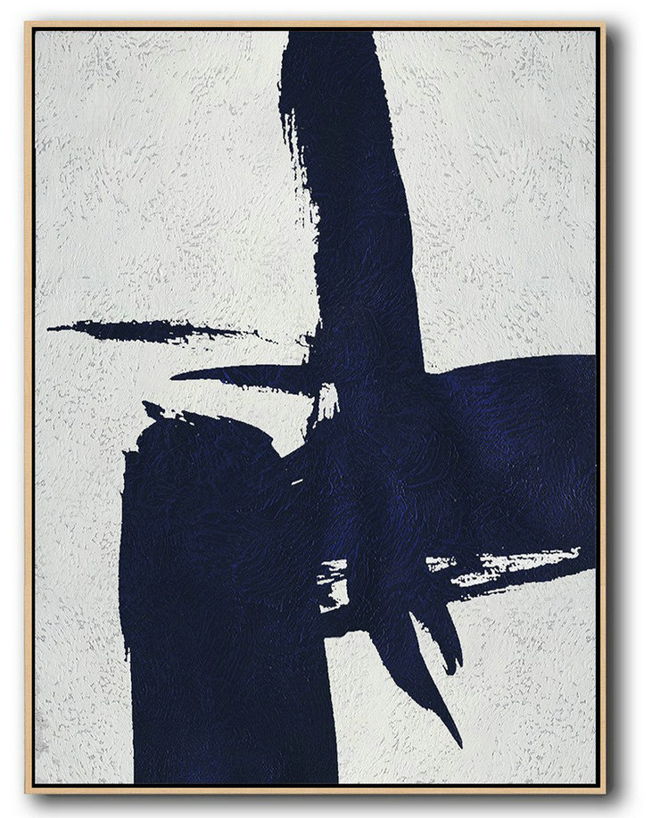 "Wall Art,Extra Large 72"" Acrylic Painting,Buy Hand Painted Navy Blue Abstract Painting Online,Canvas Wall Art"