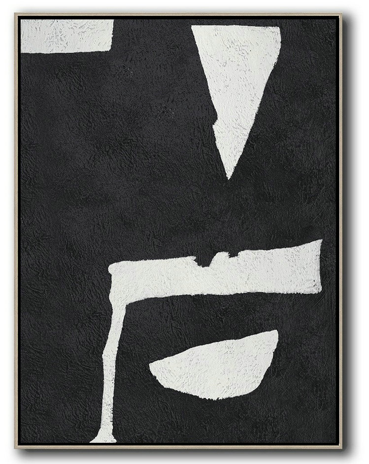 Large Painting Canvas,Pop Art Canvas,Black And White Minimal Painting On Canvas - Modern Wall Art