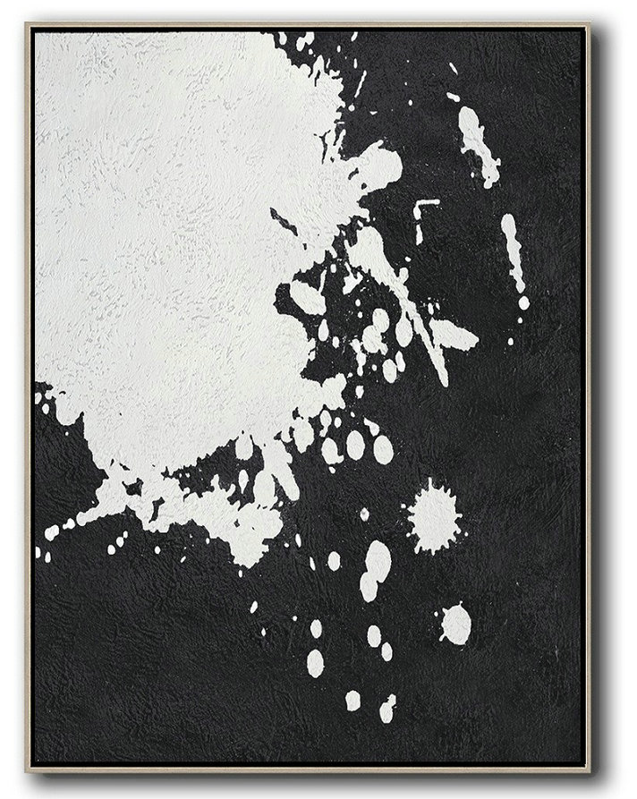 Abstract Art Pics,Hand Painted Extra Large Abstract Painting,Black And White Minimal Painting On Canvas - Abstract Painting For Home