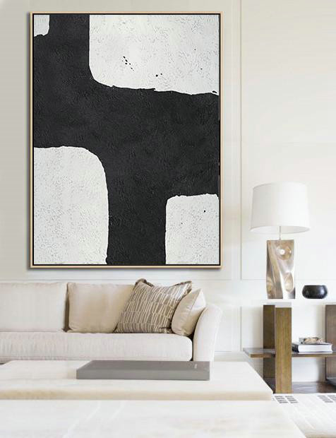 Abstract Person Art,Large Abstract Art Handmade Oil Painting,Black And White Minimalist Painting On Canvas - Decorating A Big Living Room