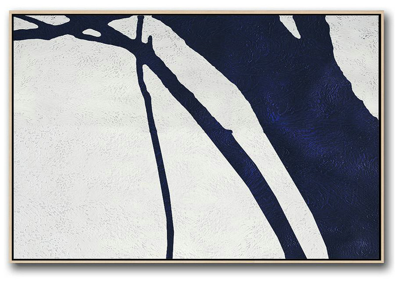Abstract Painting Prints,Original Painting Hand Made Large Abstract Art,Horizontal Abstract Painting Navy Blue Minimalist Painting On Canvas,Large Canvas Art