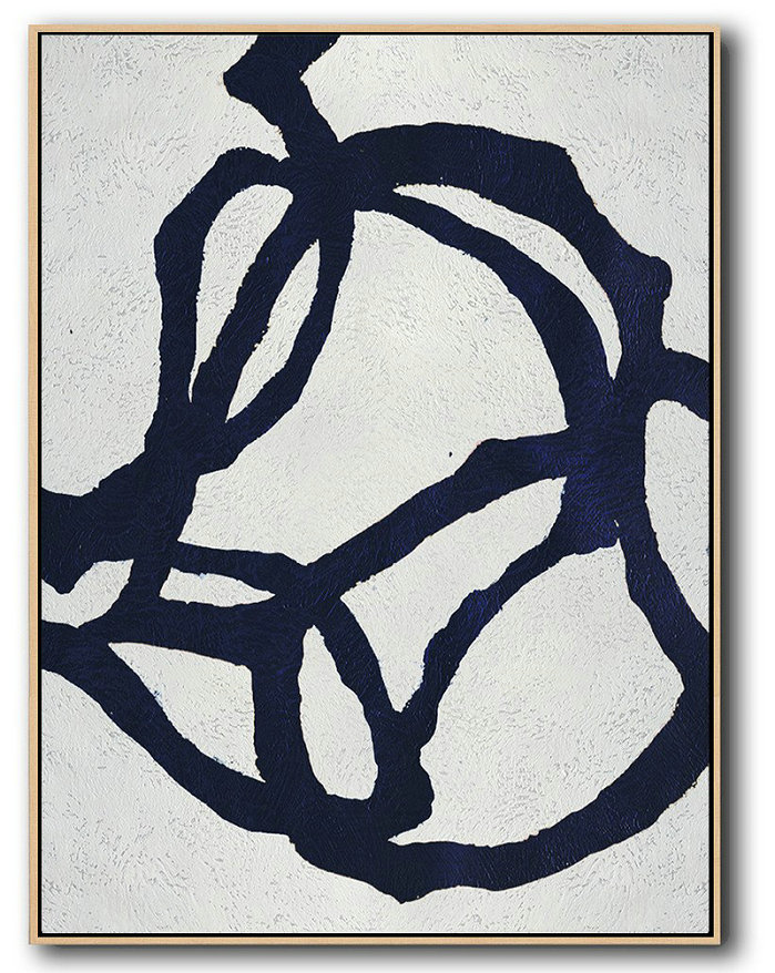 Abstract Line Art,Hand Painted Extra Large Abstract Painting,Buy Hand Painted Navy Blue Abstract Painting Online,Hand Paint Large Art
